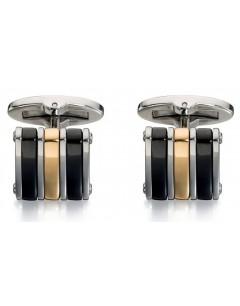 Mon-bijou - D502 - Bouton de manchette plaqué Or en acier inoxydable