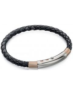 Mon-bijou - D4687 - Bracelet chic cuire plaqué Or rose en acier inoxydable