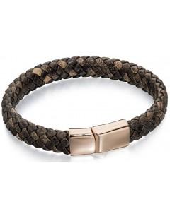 Mon-bijou - D4685 - Bracelet cuir plaqué Or rose en acier inoxydable