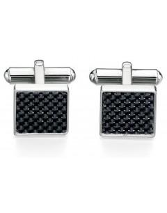 Mon-bijou - D421 - Bouton de manchette fibre de carbone en acier inoxydable