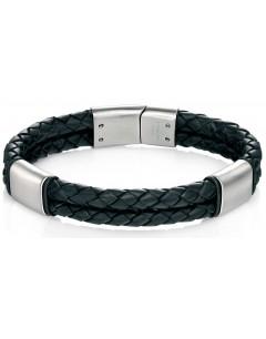 Mon-bijou - D4373 - Bracelet cuire brossé en acier inoxydable