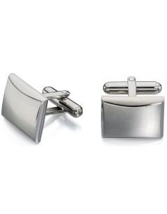 Mon-bijou - D509c - Bouton de manchette brossé et poli en acier inoxydable
