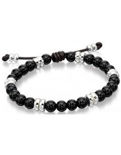 Mon-bijou - D4569 - Bracelet cuire et Onyx en argent 925/1000