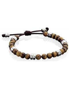 Mon-bijou - D3905c - Bracelet cuire oeil de tigre en argent 925/1000