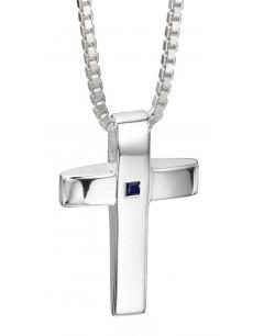Mon-bijou - D4130 - Collier croix et saphir en argent 925/1000