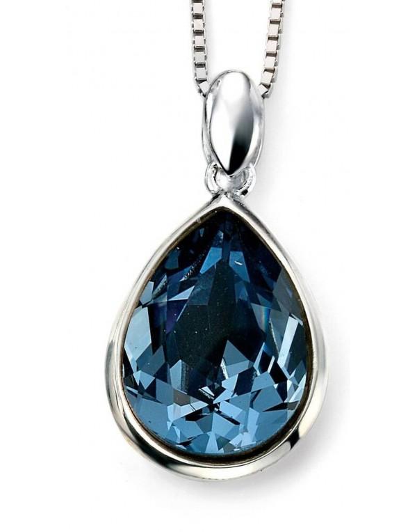 Collier en cristal de Swarovski bleu et plaqué rhodium en argent