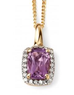 Mon-bijou - D634c - Superbe collier améthyste et diamant en Or 375/1000