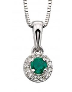 Mon-bijou - D875c - Superbe collier émeraude et diamant en Or blanc 375/1000