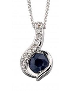 Mon-bijou - D881 - Superbe collier saphir et diamant en Or blanc 375/1000