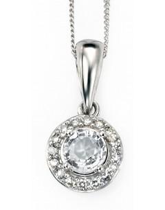 Mon-bijou - D882c - Collier topaze et diamant en Or blanc 375/1000