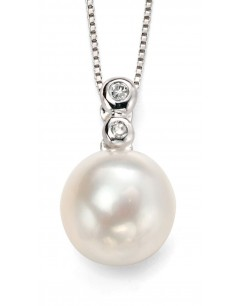 Mon-bijou - D884 - Collier perle et diamant en Or blanc 375/1000