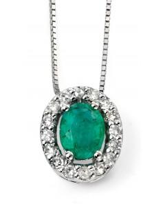 Mon-bijou - D928c - Superbe collier émeraude et diamant en Or blanc 375/1000