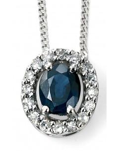 Mon-bijou - D928L - Superbe collier saphir et diamant en Or blanc 375/1000