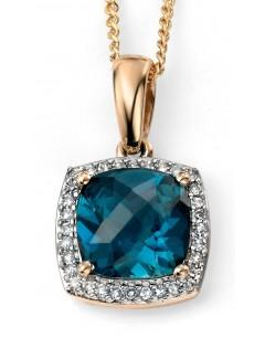 Mon-bijou - D964c - Superbe collier topaze bleu et diamant en Or 375/1000