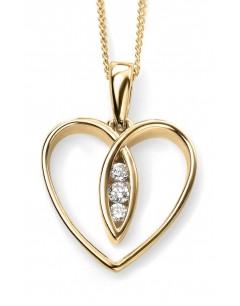 Mon-bijou - D965c - Collier coeur et diamant en Or 375/1000