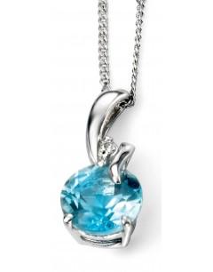 Mon-bijou - D964c - Collier topaze bleu et diamant en Or 375/1000
