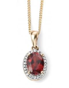 Mon-bijou - D970 - Superbe collier grenat et diamant en Or 375/1000