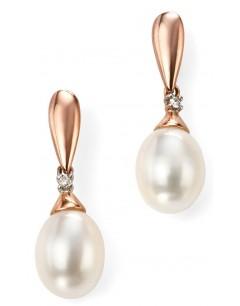Mon-bijou - D996 - Boucle d'oreille perle et diamant en Or 375/1000
