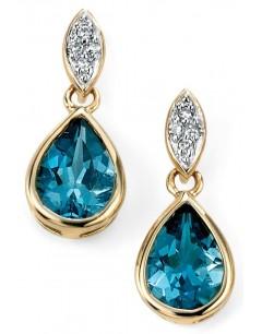Mon-bijou - D2020a - Boucle d'oreille tendance topaze bleu et diamant en Or 375/1000