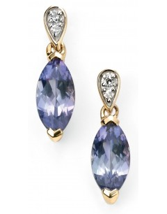 Mon-bijou - D2037 - Boucle d'oreille tanzanite et diamant en Or 375/1000