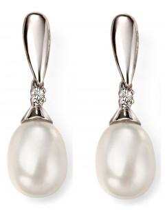 Mon-bijou - D2075 - Boucle d'oreille perle et diamant en Or blanc 375/1000