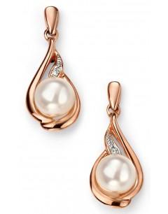 Mon-bijou - D2078 - Boucle d'oreille perle et diamant en Or rose 375/1000