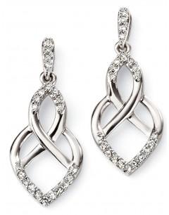 Mon-bijou - D2085 - Boucle d'oreille diamant en Or blanc 375/1000