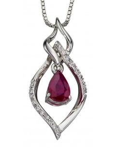 Mon-bijou - D2090 - Collier rubis et diamant en Or blanc 375/1000