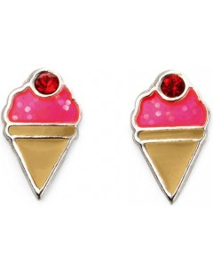 Mon-bijou - D2015c - Boucle d'oreille glace fraise en argent 925/1000