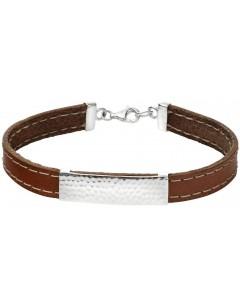 Mon-bijou - D4929 - Bracelet cuir en argent 925/1000