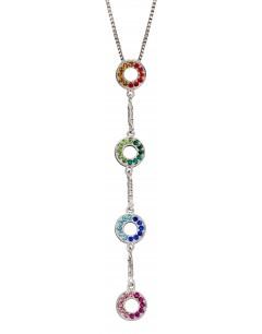 Mon-bijou - D4854 - Collier tendance couleur arc en ciel en argent 925/1000
