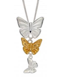 Mon-bijou - D4859 - Collier papillons plaqué or en argent 925/1000