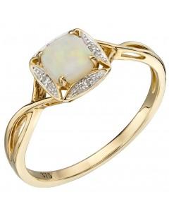 Mon-bijou - D569 - Bague opale et diamant en or 375/1000