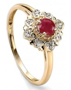 Mon-bijou - D428r - Bague Rubis et Diamant 0,024 carat en Or 375/1000 carat