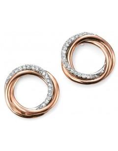 Mon-bijou - D2030c - Boucle d'oreille tendance diamant en Or rose 375/1000