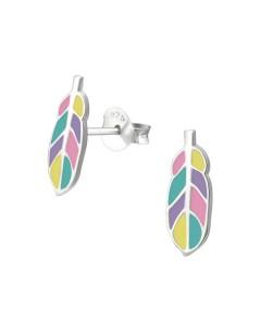 Mon-bijou - H33540 - Boucle d'oreille plume en argent 925/1000
