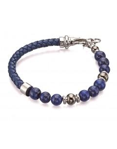 Mon-bijou - D4871 - Bracelet classe et chic bleu en acier inoxydable