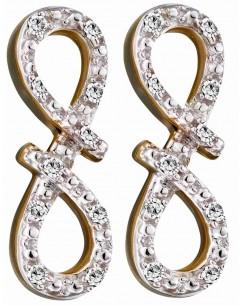 Mon-bijou - D2286 - Boucle d'oreille infinity diamant en Or blanc 375/1000