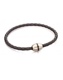 Mon-bijou - D4915a - Bracelet tendance acier inoxydable en cuir