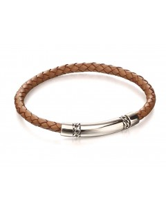 Mon-bijou - D4973 - Bracelet chic cuir en argent 925/1000