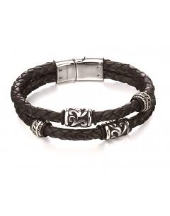 Mon-bijou - D4980 - Bracelet chic acier inoxydable en cuir