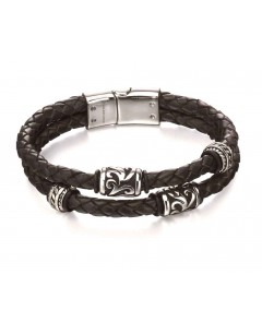 Mon-bijou - D4980a - Bracelet chic acier inoxydable en cuir