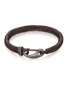 Mon-bijou - D4983 - Bracelet original acier inoxydable en cuir
