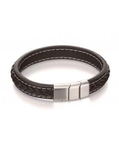 Mon-bijou - D4984 - Bracelet classe acier inoxydable en cuir