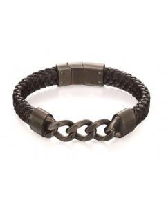 Mon-bijou - D4999 - Bracelet original acier inoxydable en cuir