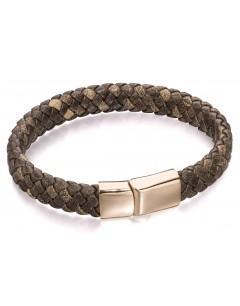 Mon-bijou - D5001 - Bracelet cuir plaqué Or rose en acier inoxydable