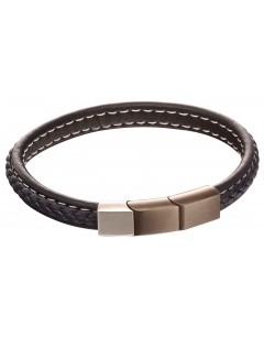 Mon-bijou - D5119 - Bracelet cuir en acier inoxydable
