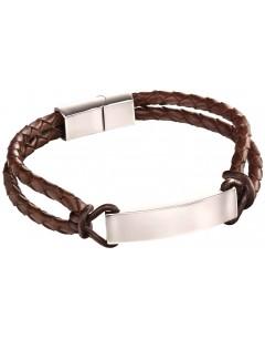 Mon-bijou - D5122 - Bracelet original cuir en acier inoxydable