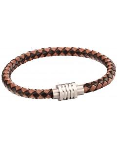 Mon-bijou - D5123 - Bracelet cuir en acier inoxydable