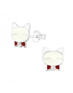 Mon-bijou - H31355 - Boucle d'oreille chat en argent 925/1000